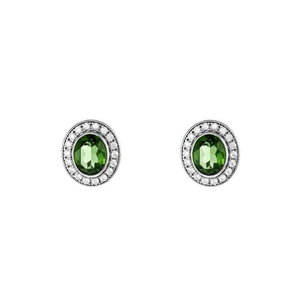 Kolczyki srebrne z zieloną...