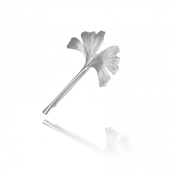 Broszka srebrna liść miłorzębu