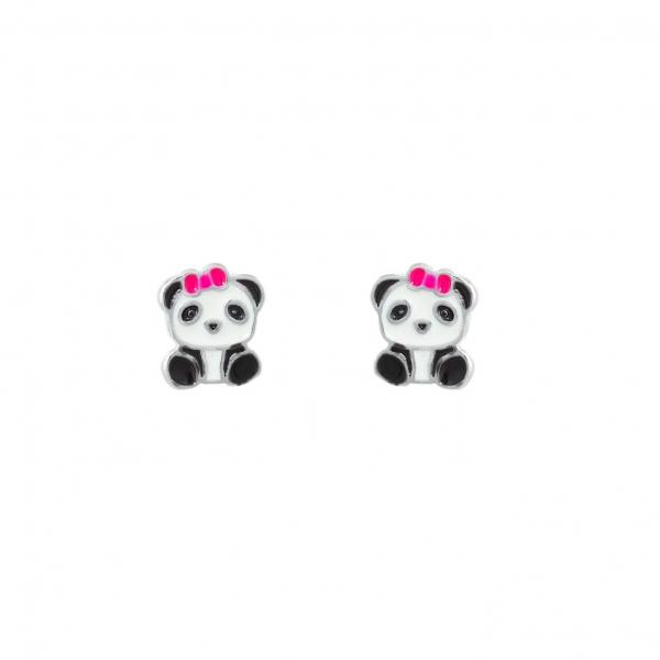 Kolczyki srebrne pandy