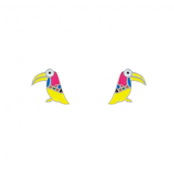 Kolczyki srebrne papugi