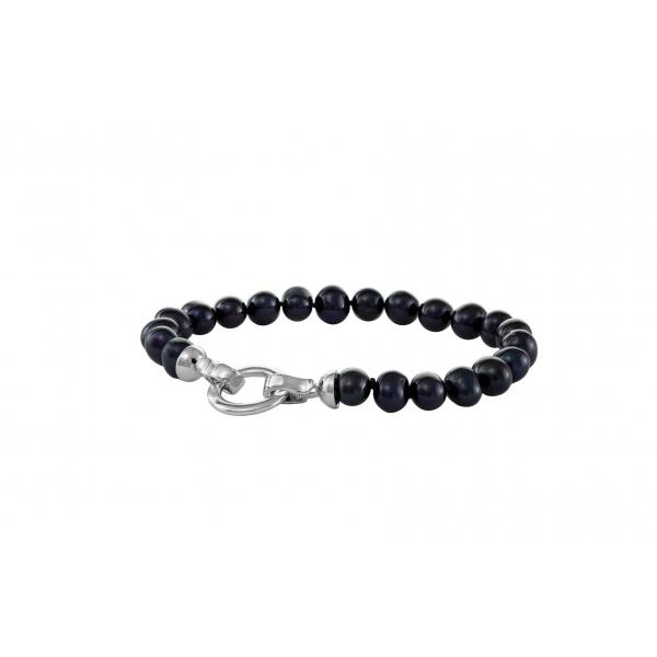 Bransoletka perły czarne 19 cm